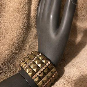 Forever 21 Stretchy Pewter/Rhinestone Bracelet